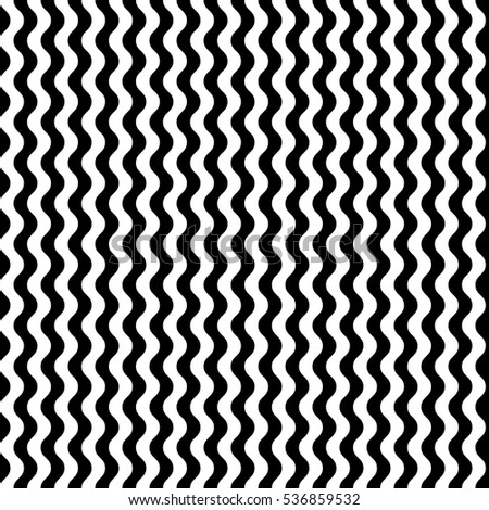 Vector seamless pattern. Decorative element, design template with striped black and white wave curve lines. Background, texture with optical illusion effect. Marine dynamic tiles in op art style.