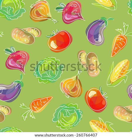 Vector seamless pattern, doodle design. Colorful illustration, cute background. Endless vegetable background. Hand drawn food design. #260766407