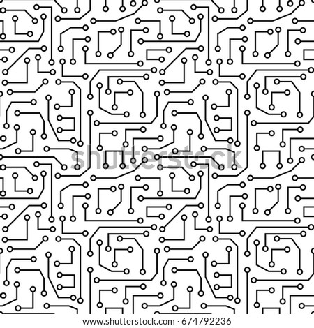 Vector seamless pattern - electronic circuit board background.