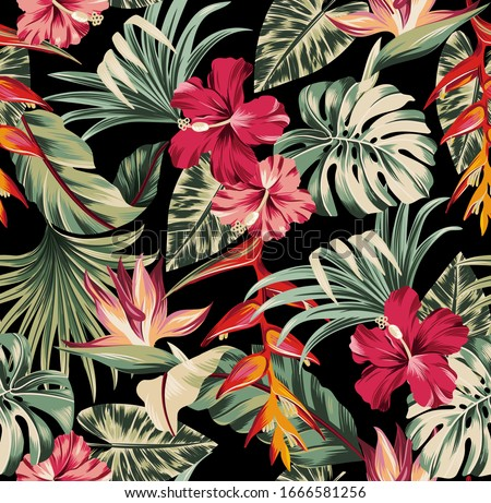 Vector seamless pattern Exotic   wallpaper of tropical flowers  green leaves of palm trees and flowers bird of paradis, hibiscus, artwork for fabrics, souvenirs, packaging, greeting cards
