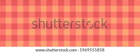 Vector Seamless Pattern Fabric Textile Texture, Textured Background Illustration, Red and Orange Light Plaid Fabric. Stock photo ©