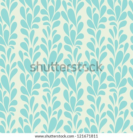 Vector seamless pattern. Floral background with vertical stylized brunches - stock vector
