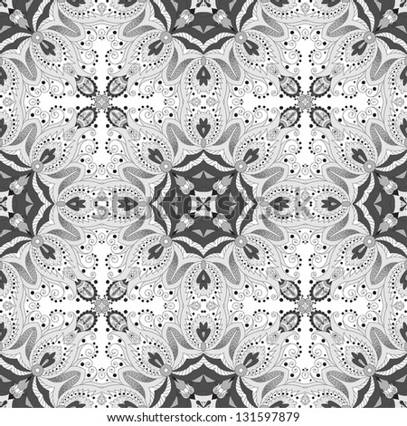 Vector seamless pattern. Floral damask ornament. Easy to change colors.