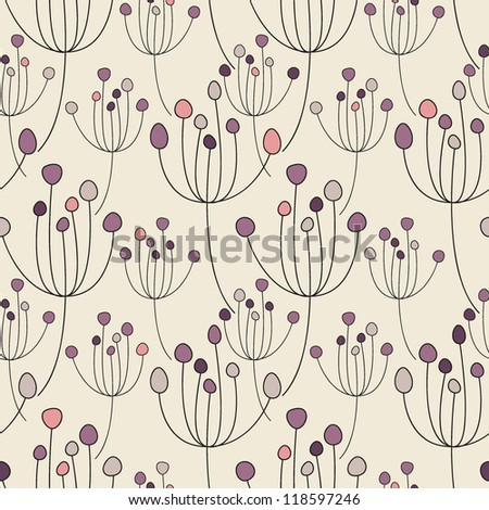Vector seamless pattern. Floral stylish background. Delicate girlish texture