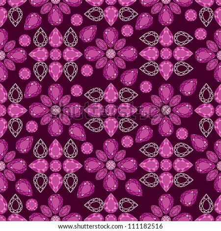 Vector seamless pattern flowers from diamond design elements