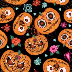 Vector seamless pattern for Halloween. Pumpkin,flowers and spiderweb on the Halloween theme. Bright cartoon pattern for Halloween.