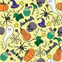 Vector seamless pattern for Halloween. Pumpkin, ghost, bat, candy, and other items on Halloween theme. Bright cartoon pattern for Halloween