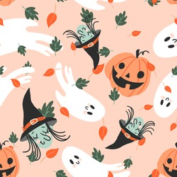 Vector seamless pattern for Halloween. Pumpkin, ghost, witch and other items on Halloween theme. Bright cartoon pattern for Halloween