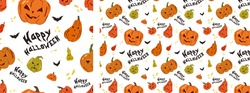 Vector seamless pattern for Halloween. Pumpkins on the Halloween theme. Bright cartoon pattern for Halloween.