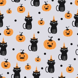 Vector seamless pattern for Halloween with cat and pumpkin.