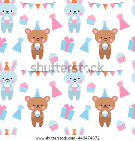 Vector seamless pattern for the birthday party. Bear and bunny in festive hats, cupcakes and hearts  background for a birthday.