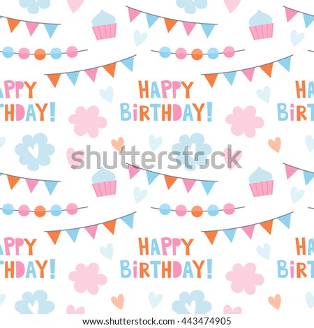 Vector seamless pattern for the birthday party. Flags, garlands, cake  background for a birthday.