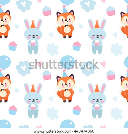 Vector seamless pattern for the birthday party. Fox and bunny in festive hats, cupcakes and hearts  background for a birthday.