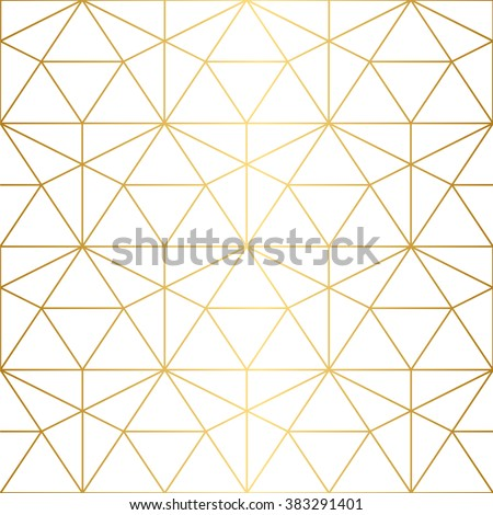 Vector seamless pattern. Geometric background with rhombus and nodes. Abstract geometric pattern. Golden texture.Seamless geometric pattern. - Shutterstock ID 383291401