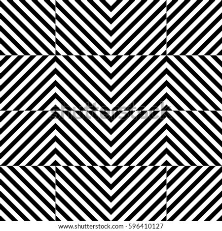 Vector seamless pattern. Geometric element, design template with striped black white diagonal inclined lines. Background, texture with optical illusion. Stylish tiles of textile, fabric, print, badge