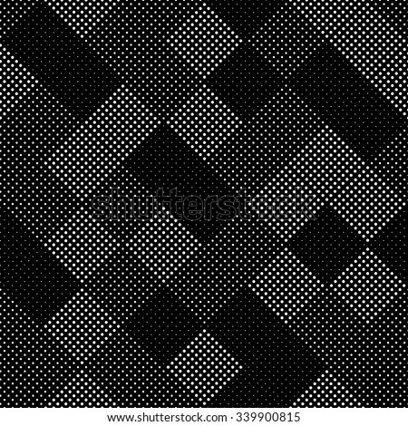 Vector seamless pattern. geometric tiles with dots of different sizes. simple background of perforated rhombus