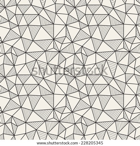 Vector seamless pattern. Hand drawn repeating texture with linear triangles. The alternation of empty and striped triangles