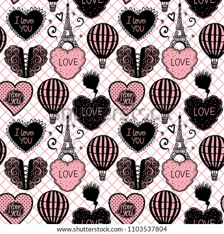 Vector Seamless Pattern Hot Air Balloon and Paris Eiffel Tower on pink fishnet tights