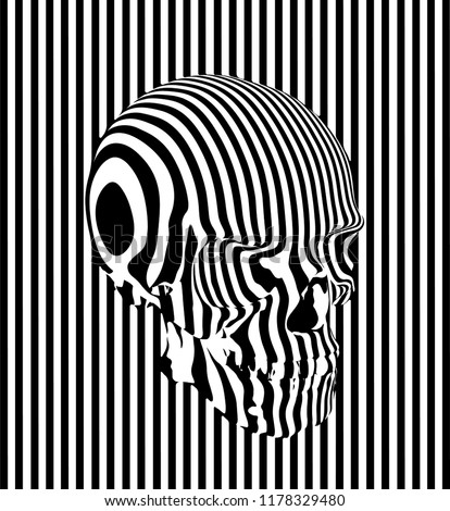 Vector seamless pattern illustration of human skull in black and white stripes on black and white striped background.