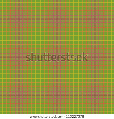 Vector seamless pattern in check of colorful lines. Traditional geometric green background. Abstract simple ornamental illustration for paper, wallpaper, textile, print and web