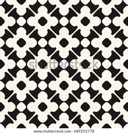 Vector seamless pattern in oriental style. Monochrome geometric ornament, abstract background texture with floral shapes, circles, delicate lattice. Repeat design for prints, textile, fabric, decor