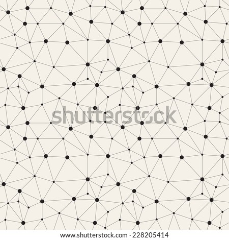 Vector seamless pattern. Irregular abstract linear grid with circles in nodes. Graphial hand drawn background. Reticulated monochrome texture