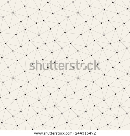 Vector seamless pattern. Irregular abstract linear grid with circles in nodes. Graphical hand drawn background. Reticulated monochrome texture