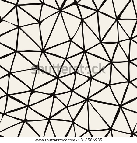 Vector seamless pattern. Irregular abstract triangular grid. Graphical hand drawn background. Reticulated monochrome texture. Hipster modern print. Contemporary graphic design