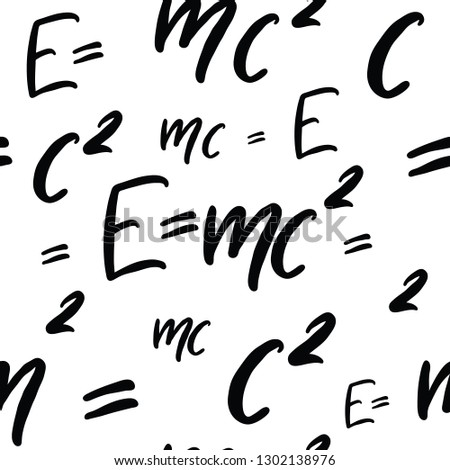 Vector seamless pattern made of Famous physics formula  E=mc2. Formula expressing the equivalence of mass and energy. Handwriting work.