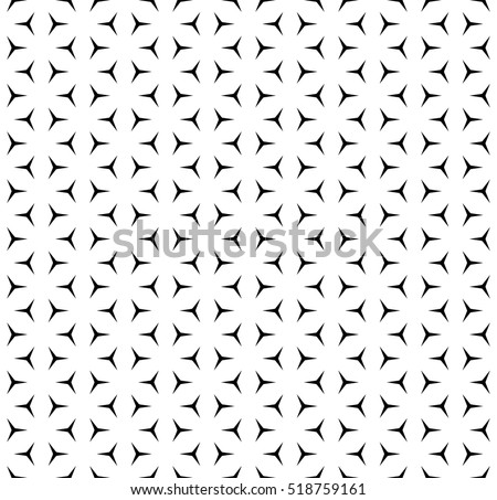 Vector seamless pattern, minimalist monochrome geometric texture. Simple illustration of windmills, propellers. Black & white background. Design element for printing, stamping, digital, decoration