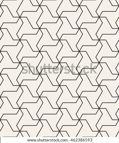 Vector seamless pattern. Modern geometric monochrome texture. Repeating abstract background with twisted triangular elements.