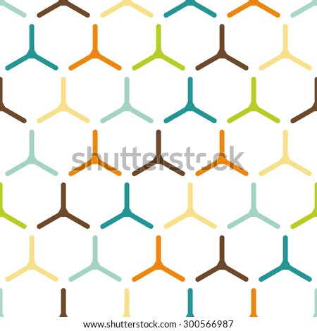 Vector seamless pattern. Modern stylish colorful texture. Repeating abstract background with twisted polygonal elements.