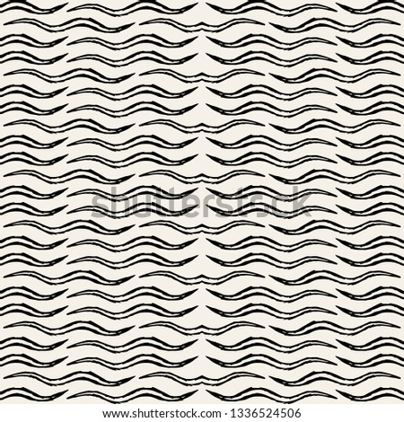 Vector seamless pattern. Modern stylish texture. Busy background with hand drawn curved elements. Abstract background with wavy shapes.