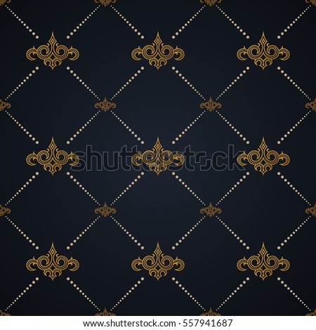 Vector seamless pattern. Modern stylish texture design in Victorian style. Ornamental baroque background. Ornate floral decor for wallpaper. Repeating geometric tiles with dotted ornament rhombus