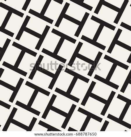 Vector seamless pattern. Modern stylish texture. Geometric ornament with bold letter H.