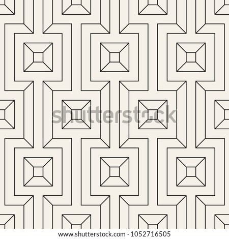 Vector seamless pattern. Modern stylish texture. Geometric ornament with thin rotated squares. Monochrome linear grid.