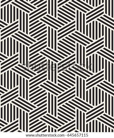 Vector seamless pattern. Modern stylish texture. Repeating geometric background. Striped hexagonal grid. Monochrome graphic design.