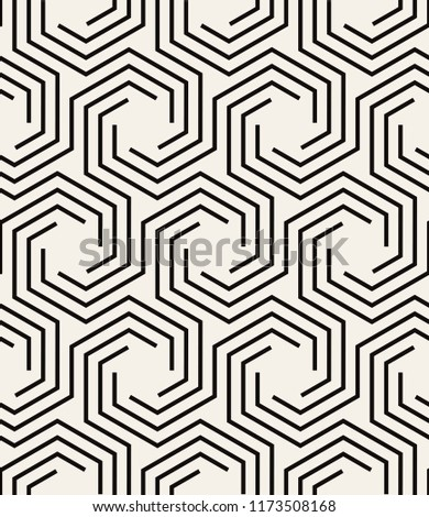 Vector seamless pattern. Modern stylish texture. Repeating geometric background with hexagonal scroll. Linear geometric shapes. Can be used as swatch for illustrator.