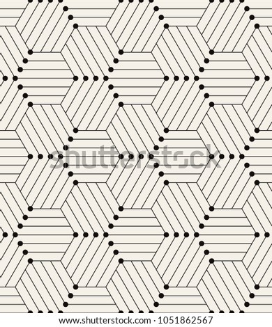 Vector seamless pattern. Modern stylish texture. Repeating geometric background with linear hexagons. Small circles in nodes. Minimalistic hexagonal graphic design.