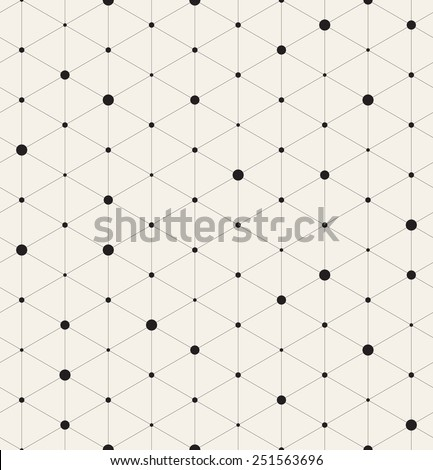 Vector seamless pattern. Modern stylish texture. Repeating geometric background with linear triangles. Variously sized circles in nodes