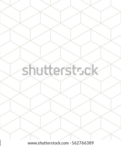 Vector seamless pattern. Modern stylish texture. Repeating geometric background with linear hexagonal grid. Trendy hipster sacred geometry. Neutral pale wallpaper.