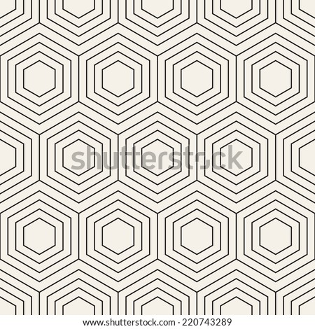 Vector seamless pattern Modern stylish texture Repeating geometric background with linear hexagons