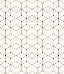 Vector seamless pattern. Modern stylish texture. Repeating geometric background with rhombus and nodes from hexagon
