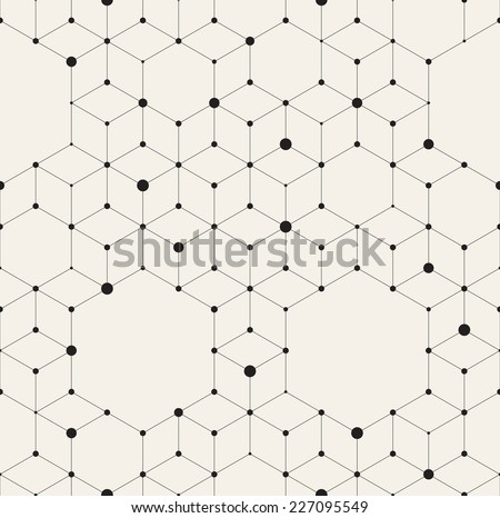 Vector seamless pattern. Modern stylish texture. Repeating geometric background with rhombus and nodes from rhombuses and hexagons with circles variously sized in nodes