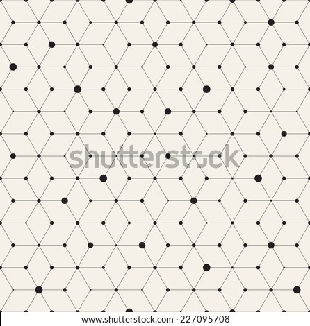 Vector seamless pattern. Modern stylish texture. Repeating geometric background with rhombus and nodes from rhombuses with circles variously sized in nodes - Shutterstock ID 227095708