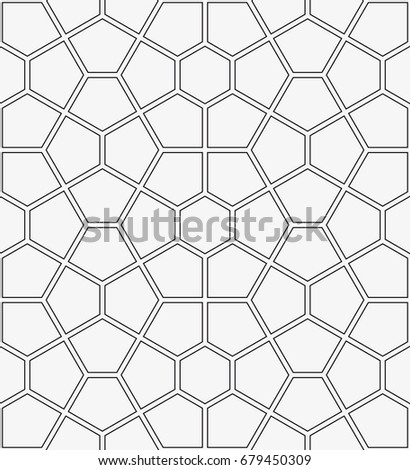 Vector seamless pattern. Modern stylish texture. Repeating geometric tiles with a grid of pentagons.