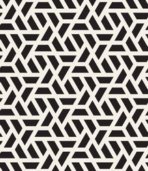 Vector seamless pattern. Modern stylish texture. Repeating geometric tiles with halves of hexagons. Contemporary graphic design. Trendy hipster monochrome print.