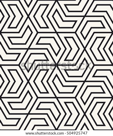 Vector seamless pattern. Modern stylish texture. Repeating geometric tiles with hexagons. Chevron elements form stylish tileable print.