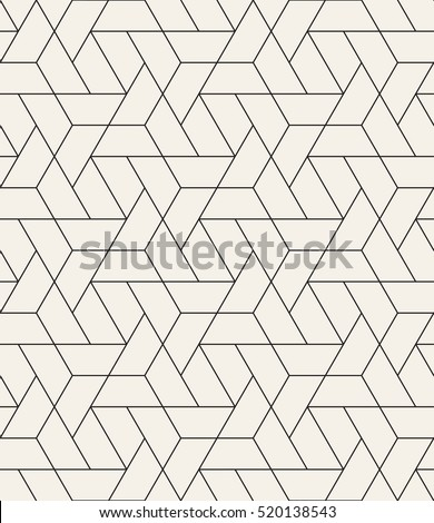 Vector seamless pattern. Modern stylish texture with monochrome trellis. Repeating geometric triangular grid. Simple graphic design. Trendy hipster sacred geometry. - Shutterstock ID 520138543