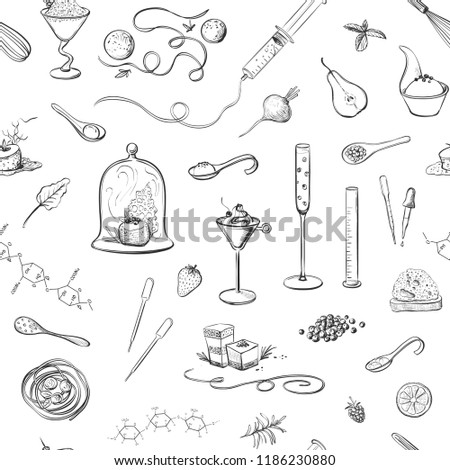 Vector seamless pattern molecular kitchen. Isolated sketches on white background